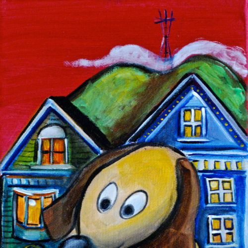 San Francisco Dog 8x10 $95 acrylic on canvas