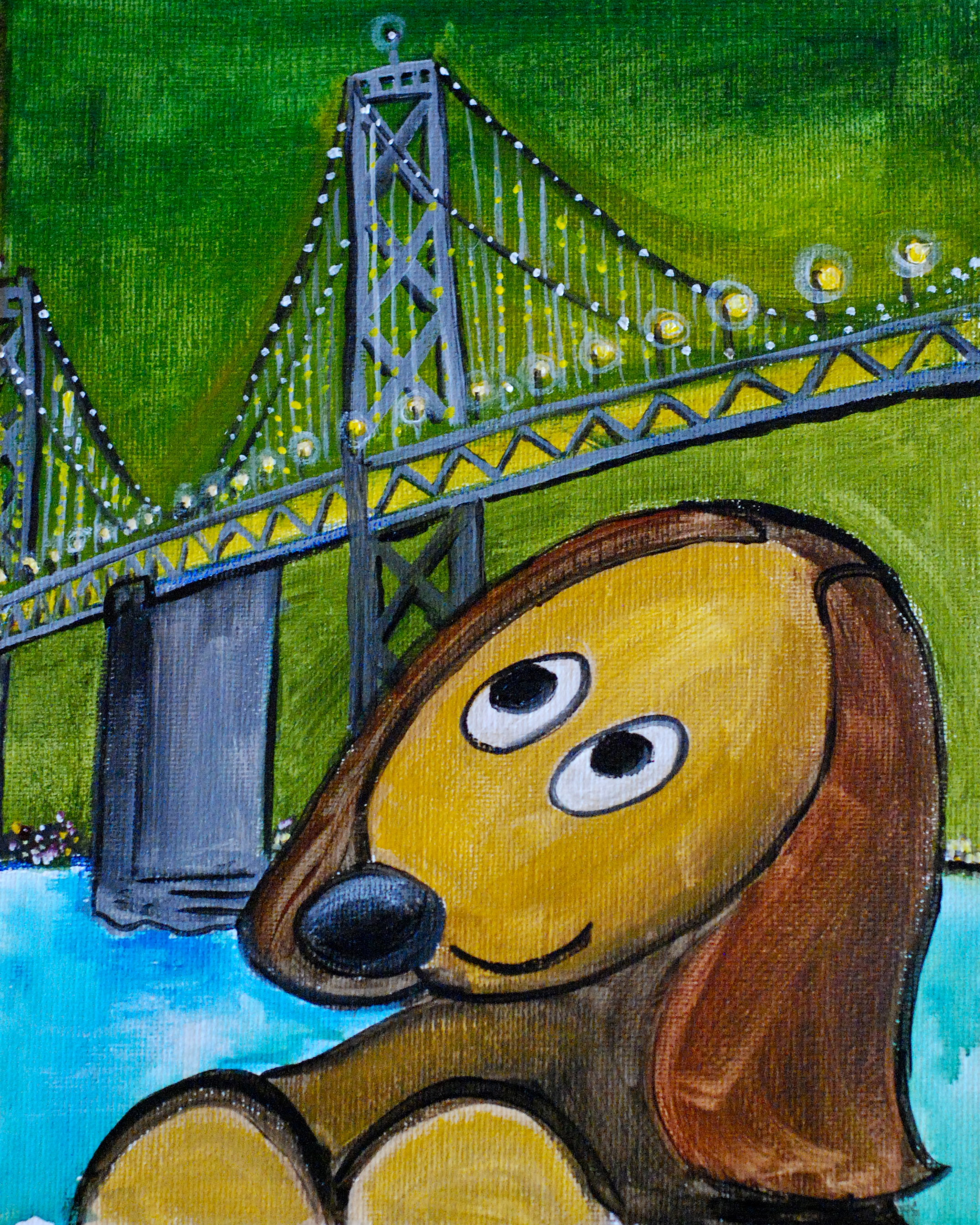 Dog at Bay Bridge 8x10 $95 acrylic on canvas