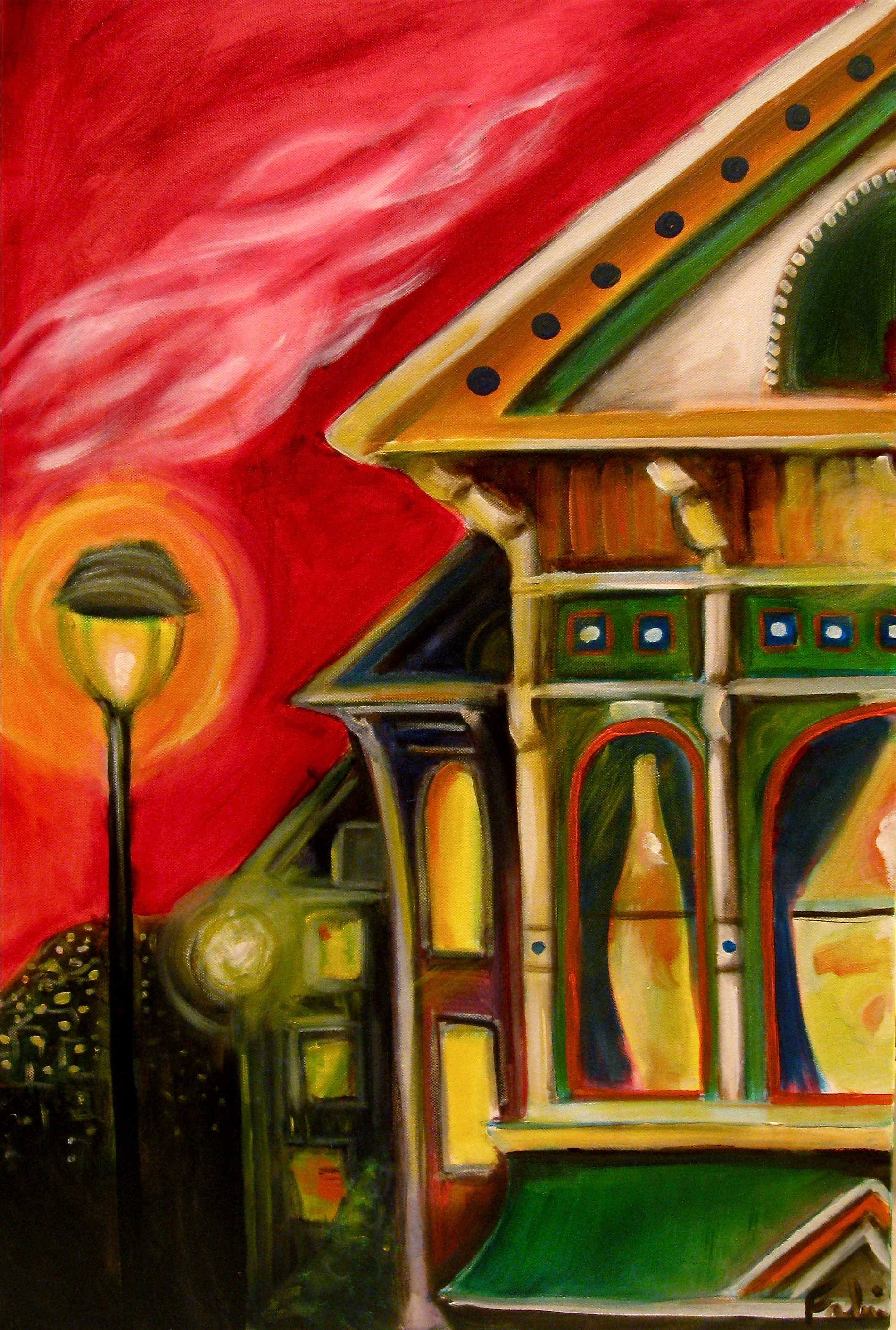 The Lights are Turning on SOLD acrylics, 24 x 36, SOLD