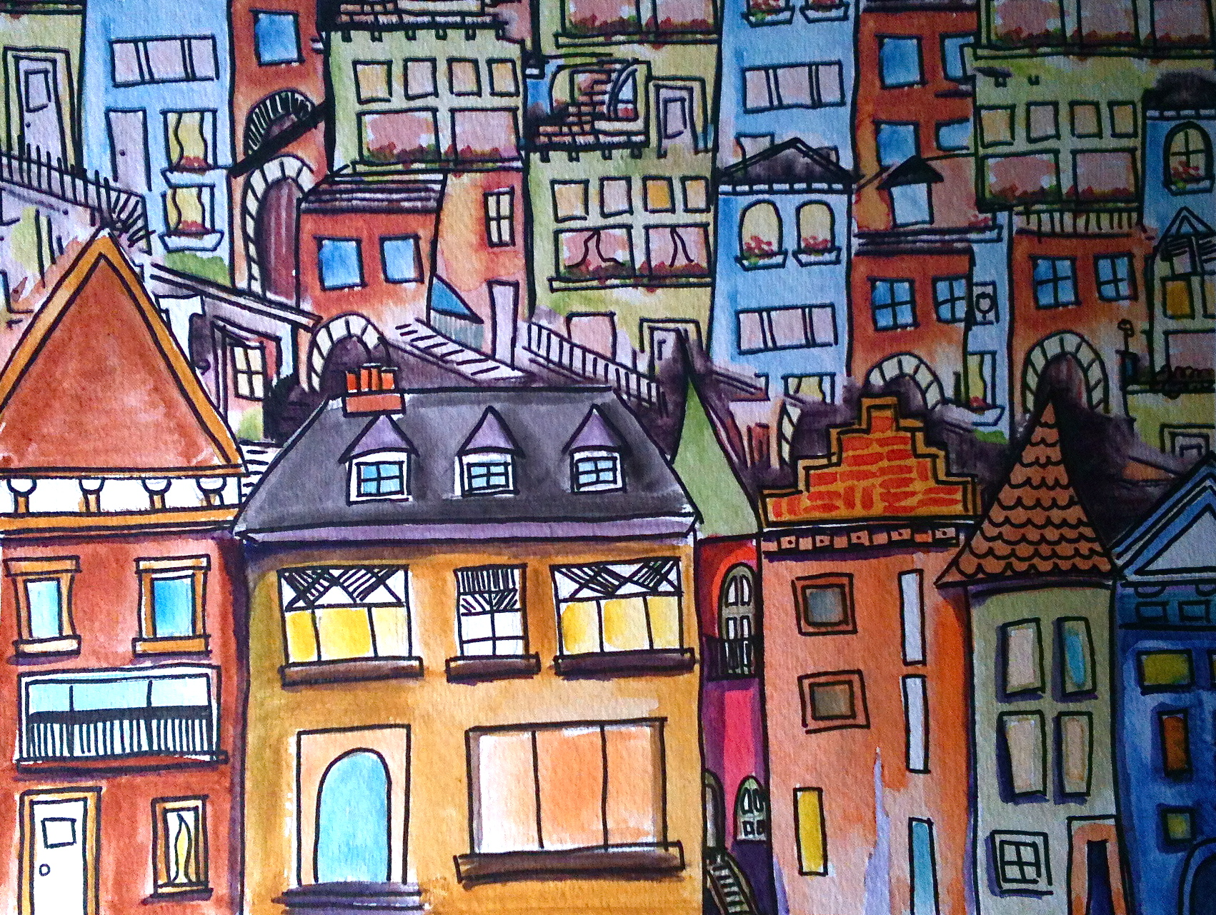 Houses Illustration print $50