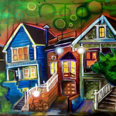 Green Sky over Strong Houses 18x24 $600